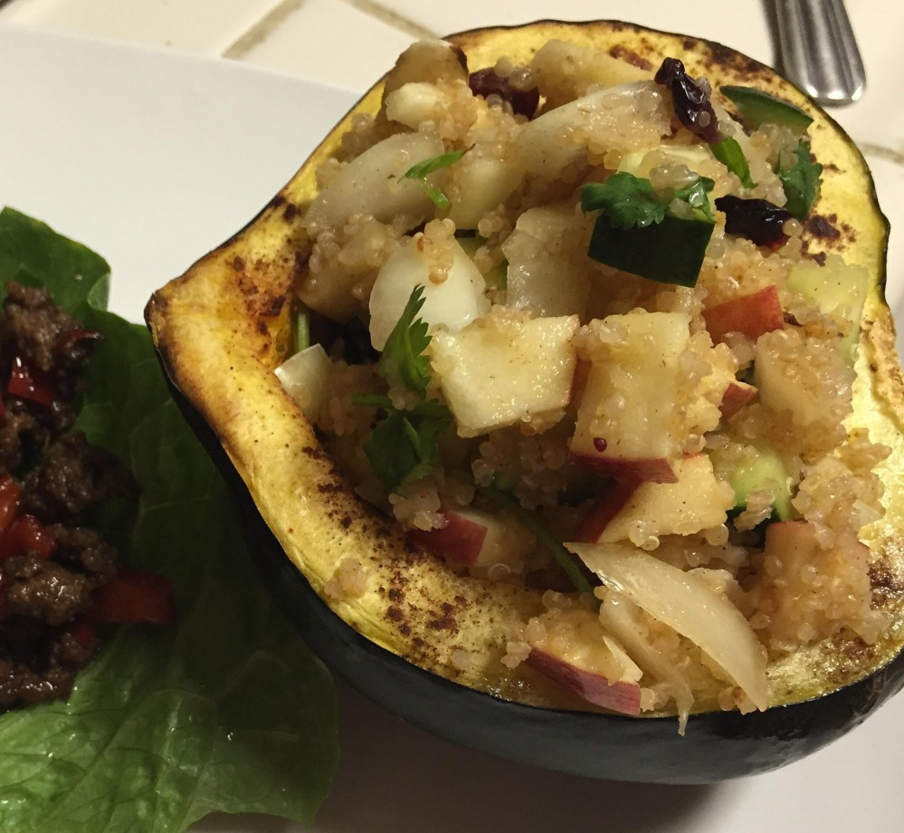 Asian Ground Beef Lettuce Wraps and Citrus Quinoa Salad Stuffed Acorn Squash